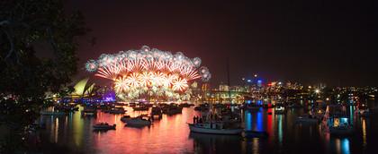 Pano Sydney New Year Fireworks 2012 WX0C9565   ©Trevor Burrows 2011   Keywords: Fireworks, Mrs Macquaries Chair, New Year, New Year Celebrations, Sydney
